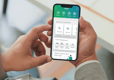 Pocket Plan App Home Held by man
